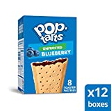 Pop-Tarts, Breakfast Toaster Pastries, Unfrosted Blueberry, Proudly Baked in the USA, 96 count (Pack of 12, 13.5 oz Boxes)