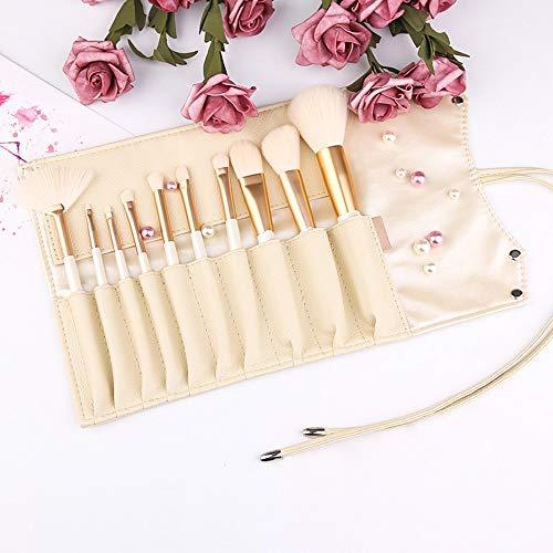 Kit de pinceaux de maquillage Kabuki Face Powder Foundation Blush Ombre à Paupières Mélange de Cosmétiques Maquillage Pinceaux Kit Pinceaux à maquillage LTJHHX (Color : Blanc, Size : Libre)