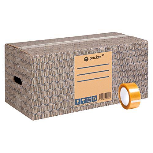 Pack 12 Cajas Carton para Mudanzas y Almacenaje Extra Grandes 600x300x275mm Ultra Resistentes con Asas + Cinta Adhesiva, 100% ECO Box | Packer PRO