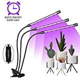 EMMMSUN Grow Light, 45W LED Grow Light with 3/6/12H Cycle Timing, 3-Head Adjustable Gooseneck Plant Light, 5 Dimmable Levels&3 Switch Modes for Indoor Plants (Black)