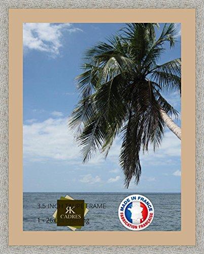 Cadre Photo avec Passe-Partout Sable pour Image 65x85 cm ou 85 x 65 cm Cadre Taupe Gris, 3.5 cm de Largeur, Cadre en Bois