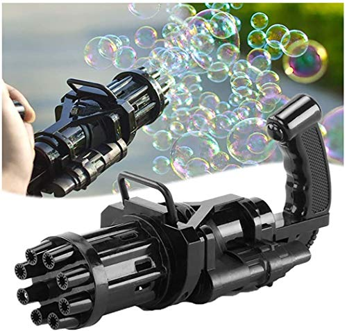 Gatling Bubble Gun, Electric Gatling Bubble Machine, 2021 Cool Toys & Gift, 8-Hole Huge Amount Bubble Maker, Strong Tightness with 3 Aa Batteries Children's Bubble Gun for Summer Outdoor Activities
