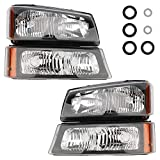 IRONTEK Headlight Assembly for Chevrolet 03-06 Silverado 1500/2500/3500, 2007 Silverado Classic 1500 3500, 03-06 Avalanche 1500/2500 Driving Headlamps Chrome Housing with Amber Reflector