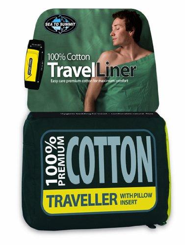 SEA TO SUMMIT Premium Cotton Travel Liner-Double (rectangulaire) Gigoteuse Camping et Randonnée Adultes Unisexe Bleu Taille Unique