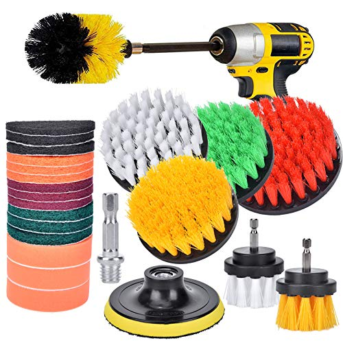 24 Pieces Drill Brush Attachment Set,Power Scrubber Cleaning Kit with Extended Long Attachment,Electric Scrubber for Shower,Grout,Bathroom, Tile, Tub,Car Wheels,Kitchen Surface, Floor