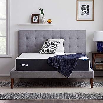 LUCID 10 Inch 2020 Gel Memory Foam Mattress - Medium Plush Feel - CertiPUR-US Certified - Hypoallergenic Bamboo Charcoal Queen