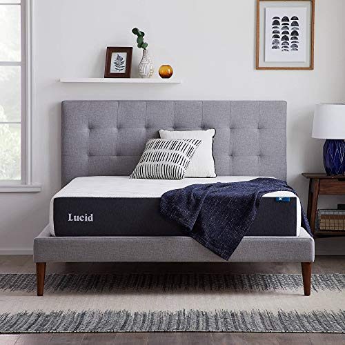LUCID 10 Inch Memory Foam Firm Feel – Gel Infusion – Hypoallergenic Bamboo Charcoal – Breathable Cover Bed Mattress Conventional, Queen, White