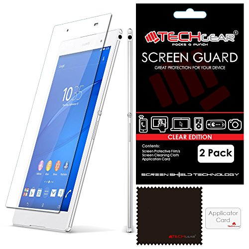 TECHGEAR [2 Stück Bildschirmschutz für Sony Xperia Z3 Tablet Compact 8 Zoll (SGP611/SGP612/SGP621) - Ultra Klare Schutzfolie mit Reinigungstuch + Applikationskarte