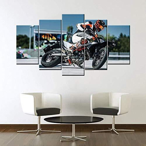 XIANGLL Leinwanddruck,Leinwand Malerei 5PC Wandkunst HD-Drucke Modulare Supermoto Bilder Home Decor Poster Home Decoration