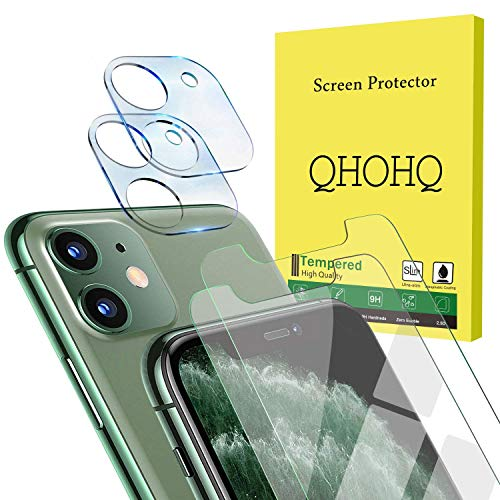 """[4 Pack] QHOHQ 2 Pack Tempered Glass Screen Protector +2 Pack Tempered Glass Camera Lens Protector for Apple iPhone 11 (6.1""""),[9H Hardness] HD Transparent Scratch-Resistant [Bubble Free]"""