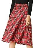 Allegra K Falda Midi Vintage con cinturón y Cintura Alta de tartán a Cuadros para Mujer Rojo M