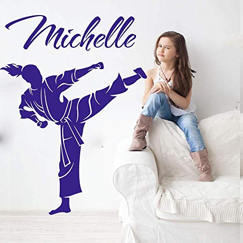 Benutzerdefinierter Name Kampfkunst Karate Taekwondo Wandtattoo Persönlichkeit Boxen Judo Sport Wandaufkleber Vinyl 56X42Cm