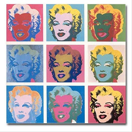 YGKDM Leinwand Malerei Wohnkultur 1 Stück Andy Warhol Marilyn Monroe Bilder Drucken Abstrakte Graffiti Poster Wohnzimmer Wandkunst Rahmen 50 cm x 50 cm x 1 Kein Rahmen