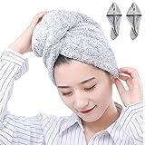 YUYI Paquete de 2 toallas de secado de pelo, toalla de microfibra ultra absorbente, turbante de secado rápido con botón, gorro seco para cabello largo y grueso (color gris)
