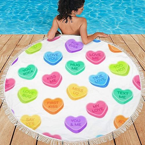 Toalla de Playa Redonda con borlas, Manta de Picnic Manta de Regalo para Exteriores, Manta de Playa para niños Adultos (150 cm de diámetro) Sweethearts Candy Set Flat Style