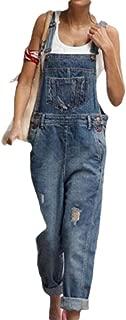 XINHEO Women Straight Big Pockets Denim Hole Washed Adjustable Overalls