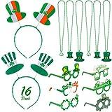 Qpout St. Patrick's Day Party Decoration Set, 6 Irish Glasses, 4 Decorative Headbands, 6 Necklaces, Green Party Decoration
