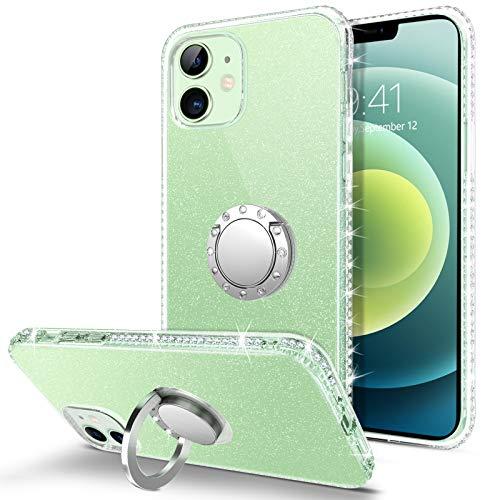 BENTOBEN Funda iPhone 12 Pro Glitter, Carcasa iPhone 12 con Soporte Ultra Delgada Case TPU Brillante Suave Silicone Transparente Protectora Resistente Anti-Golpes Funda para iPhone 12 Pro 6,1 ''