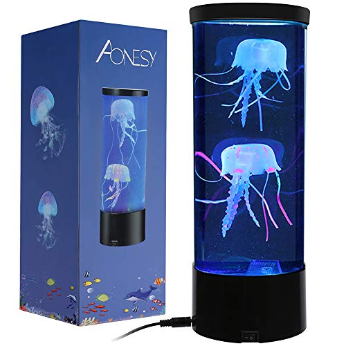 Jellyfish Lamp with Color Changing Lights-Artificial Mini Aquarium Night Light Romantic Gifts for Kids Men Women Dad Mom-Home Office Room Desk Decor Lamp for Christmas Birthday (Black)
