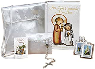 Girls First Communion Set with Mass Book, Scapular, Rosary Beads, and Satin Purse