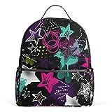 Mochila de lona con diseño de estrellas abstractas creativas, mochila de lona de gran capacidad, para niños, niñas, niños y estudiantes