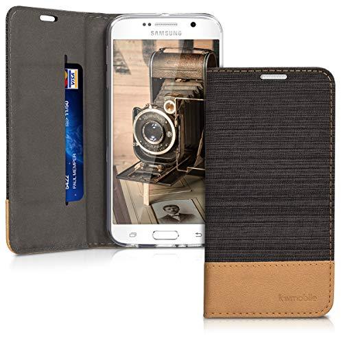 kwmobile Hülle kompatibel mit Samsung Galaxy S6 / S6 Duos - Stoff Handy Schutzhülle - Flip Cover Case Anthrazit Braun