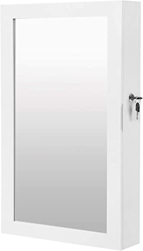 SONGMICS Lockable Jewelry Cabinet Armoire with Mirror, Wall-Mounted Space Saving Jewelry Storage Organizer, White UJJ...