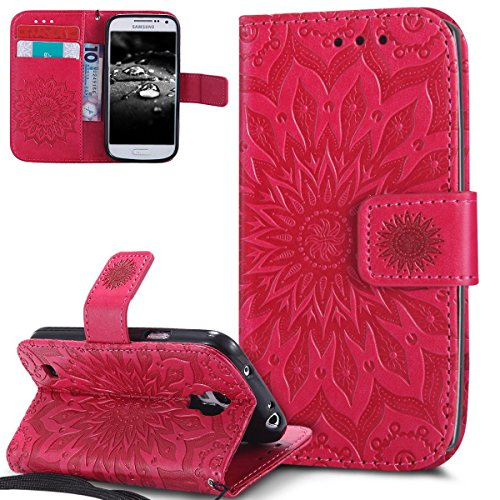 EMAXELERS Galaxy S4 Mini Hülle Mandala Sunflower Prägung Muster PU Leder Wallet Case Flip Cover im Etui Brieftasche mit Standfunktion für Samsung Galaxy S4 Mini,Red Left and Right Sunflower