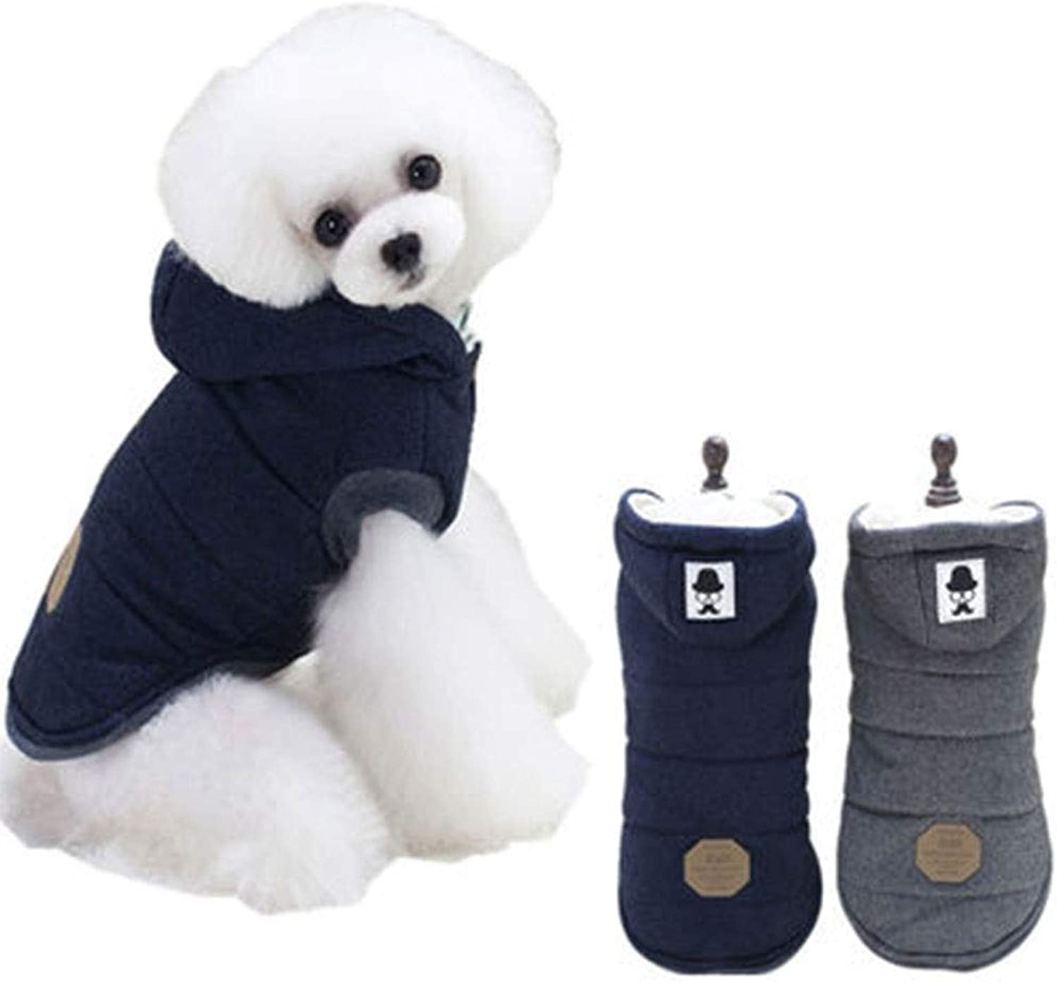 HONGNA Pet dog clothes autumn and winter explosions moustache twolegged cotton coat small dog winter thickening pet clothes,bluee,S