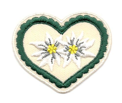 Aufnäher Bügelbild Aufbügler Iron on Patches Applikation Wiesn Herz mit Edelweiss 5 x 4,5cm Farbe: Dunkelgrün-Beige