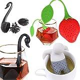 3 Pack Tea Infuser Filter, Stainless Steel Tea Ball Strainer,Cute Ultra Fine Mesh Stainless Steel Leaf Tea Ball Strainer Infuser-black swan/strawberry/Grey man