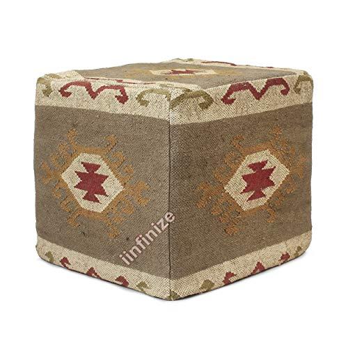 iinfinize Indian Moroccan Pouf Cases 45,7 cm Jute Pouf Cover Traditioneller Kelim-Puf handgefertigt Boden Pouf Cases Vintage Pouff Kelim-Hocker handgewebt Jute Pouf Cover