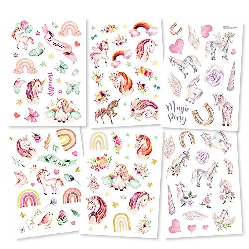 Pandawal® Tattoo für Kinder Einhorn Tattoos 6er Set Pferde Mädchen perfekt für Kindergeburtstag Party Mitgebsel Hautfreundliche Temporäre Kindertattoos