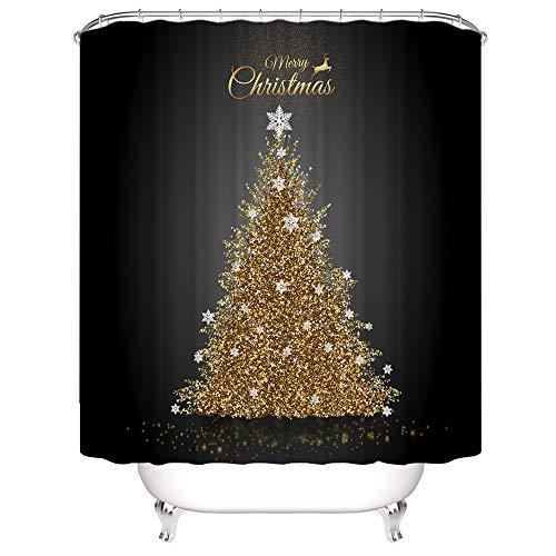 SearchI Duschvorhang Weihnachten Goldene Weihnachtsbaum Anti-Schimmel, Duschvorhang Badezimmer, Wasserdicht, Anti-Bakteriell, 3D Digitaldruck, 12 Duschvorhangringe, 180x180cm
