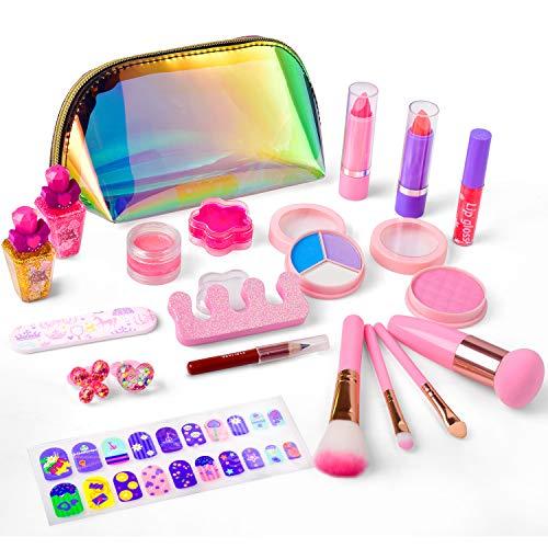 balnore Kinderschminke Set 21 Stück Waschbar Schmink Kinder Mädchen Kosmetiktasche Makeup Set Mit Glitter Kosmetiktasche