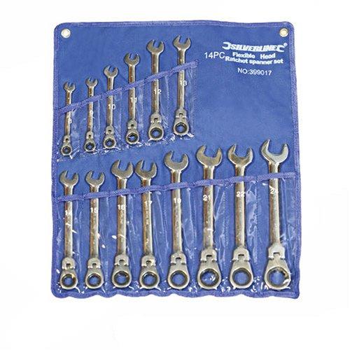 Silverline 399017 - Llaves combinadas con carraca articulada, 14 pzas (8-24...