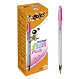 BIC Cristal Fun Ballpoint Pens Wide Point (1.6 mm) - Pink, Box of 20