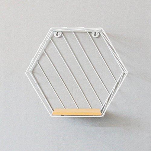 FCSFSF Estante de Pared Hexagonal de Hierro Forjado Blanco Dongyd, Estante de decoración de Sala de Estar de Madera Maciza no Perforada, Montaje en Pared, 26 * 30 * 12 cm (Color: # 2)