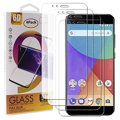 Guran 4 Paquete Cristal Templado Protector de Pantalla para Xiaomi Mi A1 Smartphone 9H Dureza Anti-Ara?azos Alta Definicion Transparente Película