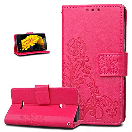 Kompatibel mit Schutzhülle Microsoft Lumia 532 Hülle Handyhülle Lederhülle,Prägung Klee Blumen PU Lederhülle Flip Hülle Cover Schale Ständer Etui Wallet Tasche Hülle Schutzhülle,Klee Blumen:Rose Red
