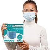 Health2b Mediziniche Mundschutz OP Masken [50 Stück] Typ IIR CE Zertifiziert, Mund und Nasenschutz Einweg Gesichtsmaske, DERMATEST® sehr gut (Blau)