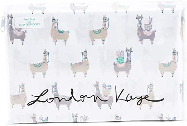 London Kaye Multicolor Grey Green Pink Blue Llama Bedding On White Printed Llama 4 Piece Sheet Set With Flat Sheet Fitted Sheet Pillowcase S Queen