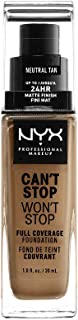 Nyx Professional Makeup Base Maquillaje Liquida Can't Stop Won't Stop, Tono Tan