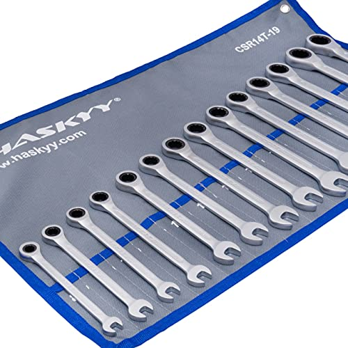 14-Tlg. HASKYY Ratschenschlüssel-Set I 8-22mm Gabelschlüssel Ratschen-Schlüssel-Satz Maulschlüssel