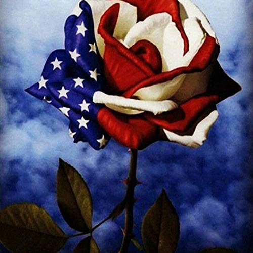 DIY Diamond Painting American Flag Rose Beautiful Flower Full Square Drill Kits Embroidery Cross Stitch Mosaic Art for Adults Relaxation & Home Wall Decor for Gift 16x16IN/40x40CM)