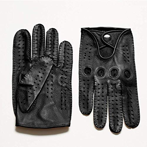 HIAO Herren Handschuhe echtes Leder-Handschuhe Schaf-Haut-Mode for Männer Schwarz Breath Fahren Handschuhe for Männer Camel-Braun Warm Winter Im Freien (Color : Noir)