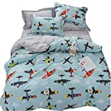 LAYENJOY Airplane Cartoon Duvet Cover Set Twin Size, Aircraft Flying Sky Clouds 100% Cotton Bedding Set for...