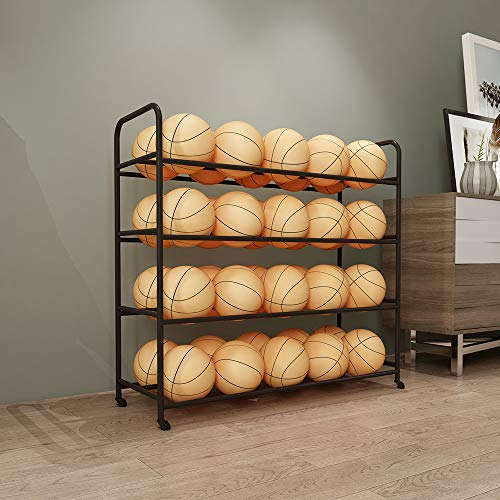 TMGY Basketball Racks for Balls with Wheels,Iron Basketball Display Stand Equipment,Ball Cart Ball Racks for Garage Ball Holder,Volleyball Sports Ball Storage Ball Organizer(Black,4-Tier,40 Balls)