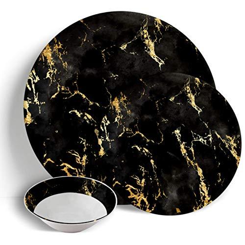 Sabella Home - Vajilla (18 piezas, mármol negro dorado)