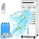 Aire Acondicionado, 4 en 1 Móvil Climatizador Evaporativo Ventilador Humidificador Purificador, con Ruedas y Tanque de Agua 5L, 3 Velocidades, Temporizador, Mando a Distancia Hogar Oficina(Blanco)
